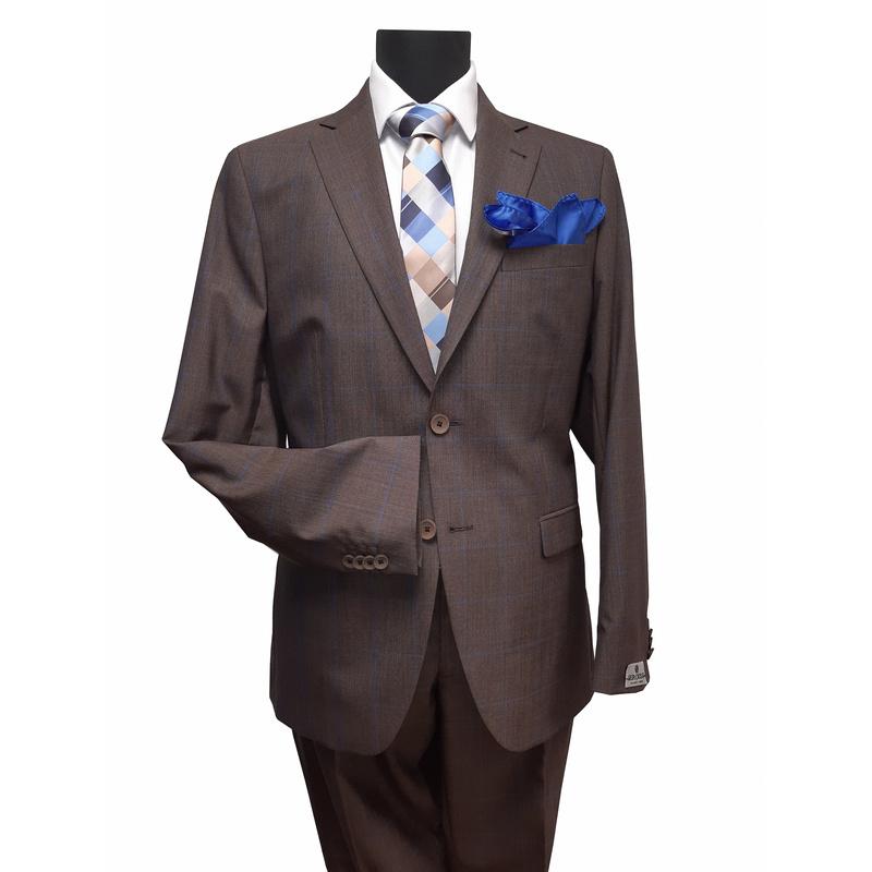 Seroussi szűzgyapjú, mintás slim fit öltöny